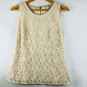 Banana Republic Ivory Floral Lace Tank Top